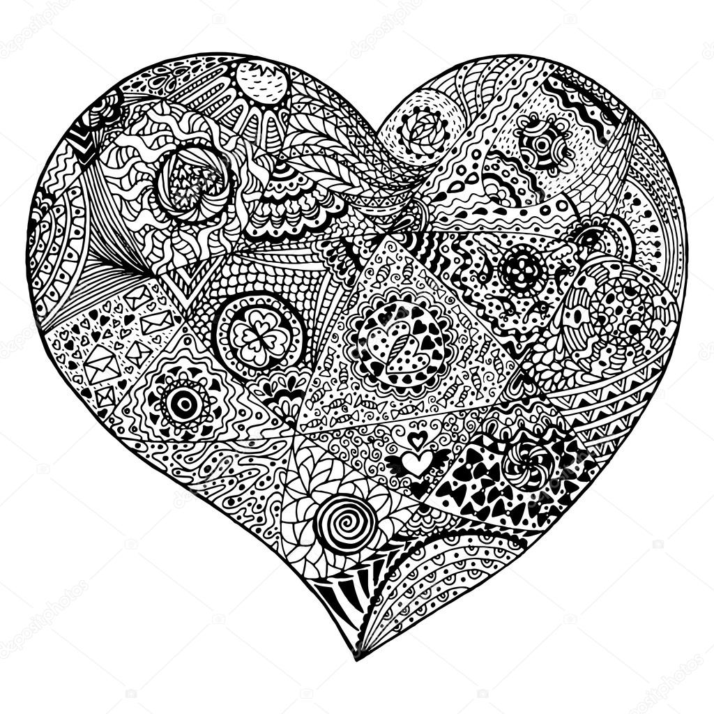 Heart Zentangle coloring page | Free Printable Coloring Pages | 1024x1024