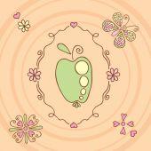 Retro rámeček s apple a motýl