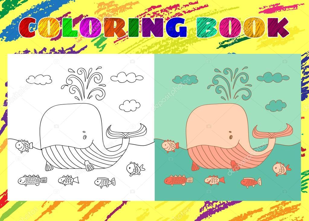 çocuklar Için Boyama Kitabı Yarım Yamalak Küçük Pembe Balina Balık