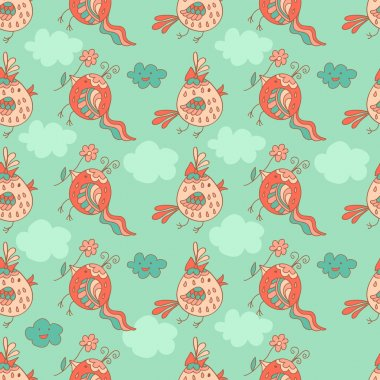 Stylish seamless texture with doodled cartoon birds in pink and