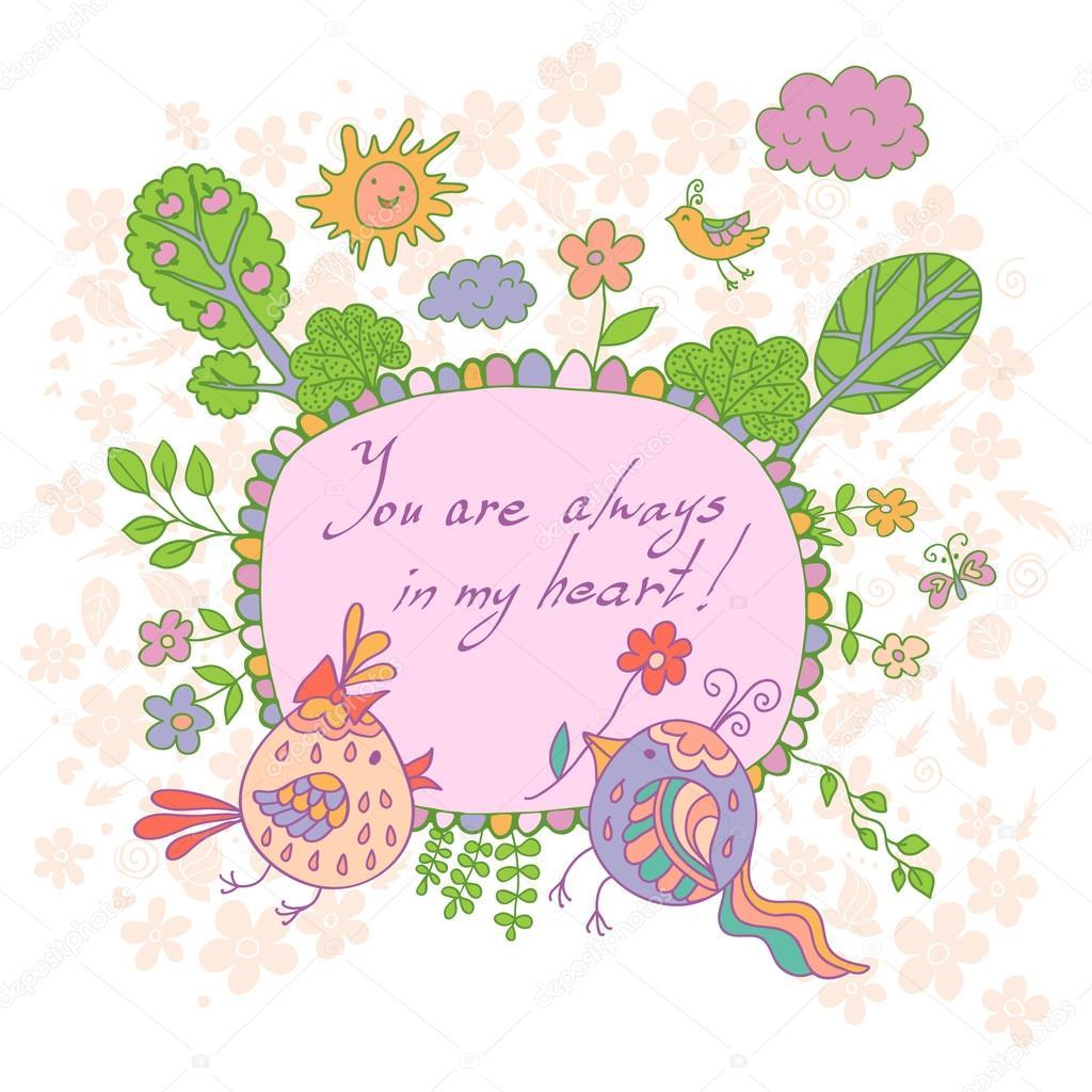 Carte De Style Dessin Animé En Fleurs Mignons Doodled Oiseaux