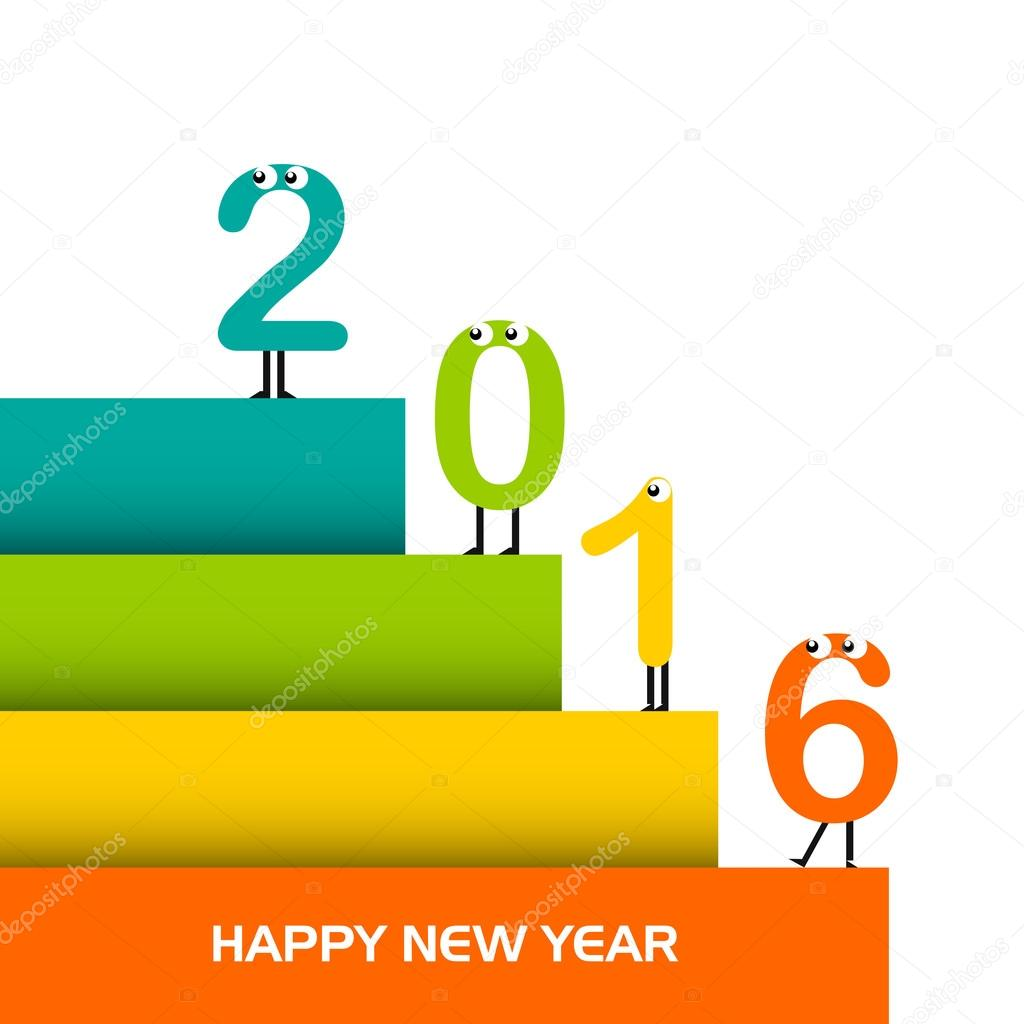 Vector Happy New year 2016 design with Stylish text, new year greeting card.