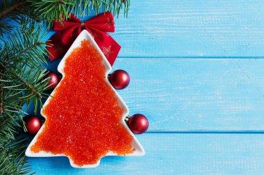 red caviar on the christmas table