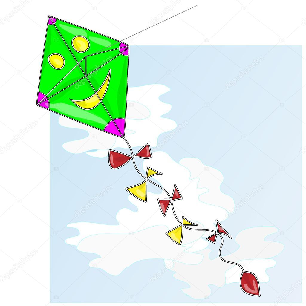 カイトカイトと空の雲のベクトル イラスト ストックベクター