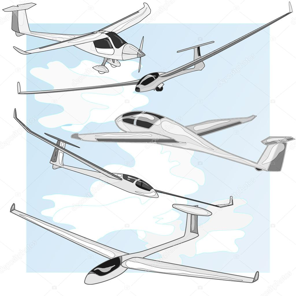 glider sailplane illustration isolated stock vector alekseyk1975