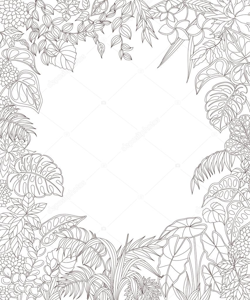 Rectangle frame with tropical  plants.