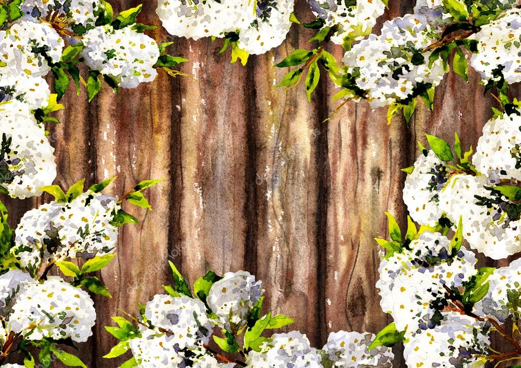 Wooden texture background decorated with blooming branches.