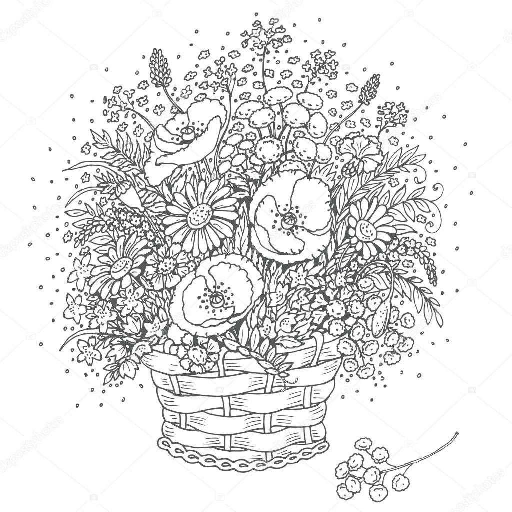 Gray outlines bouquet of wild flowers in a basket.