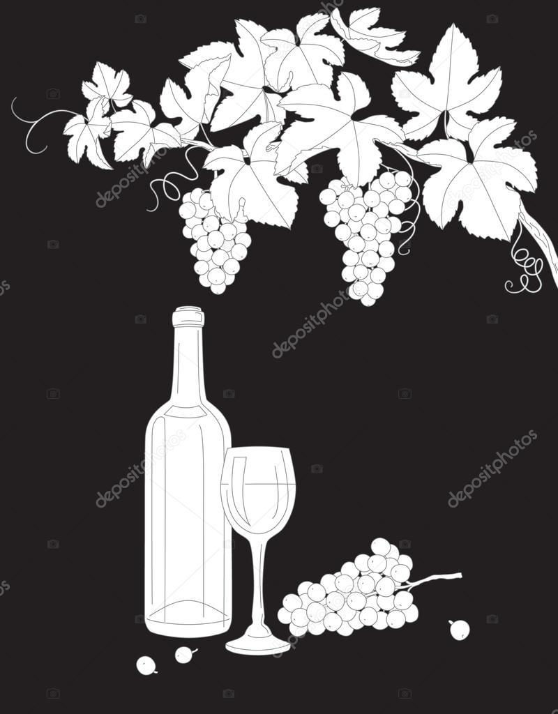 Blanco y negro describe la rama de la uva, el vidrio y la botella de ...
