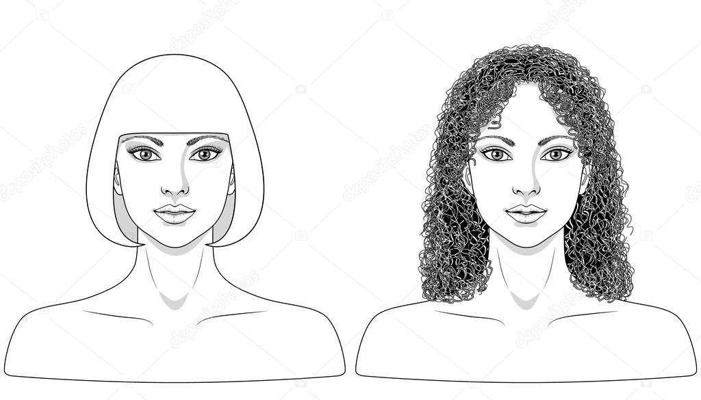 Imagen Blanco Y Negro De La Mujer Archivo Imágenes Vectoriales