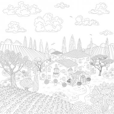 Cartoon contoured landscape with house, hills and trees.