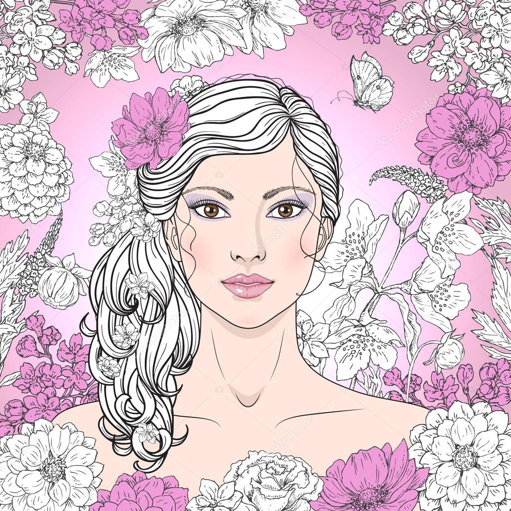 Фото красивые девушки с цветами и бабочками
