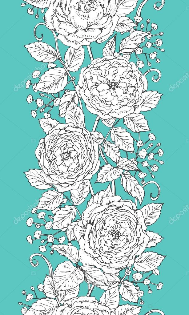 Hand drawn floral seamless pattern with roses and gypsophila.