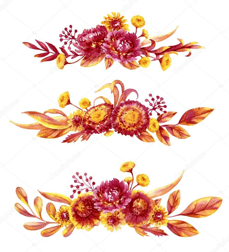 Autumn Flowers Bouquets Set — Stock Photo © Valiva #117309690