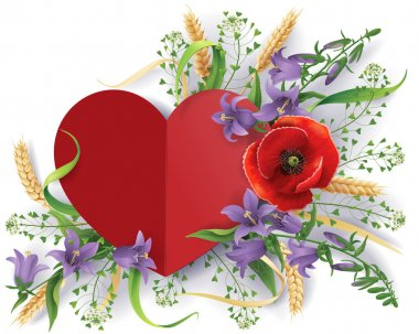 Paper heart decorated with bouquet of wild flowers, bluebells, ears and poppy. stock vector