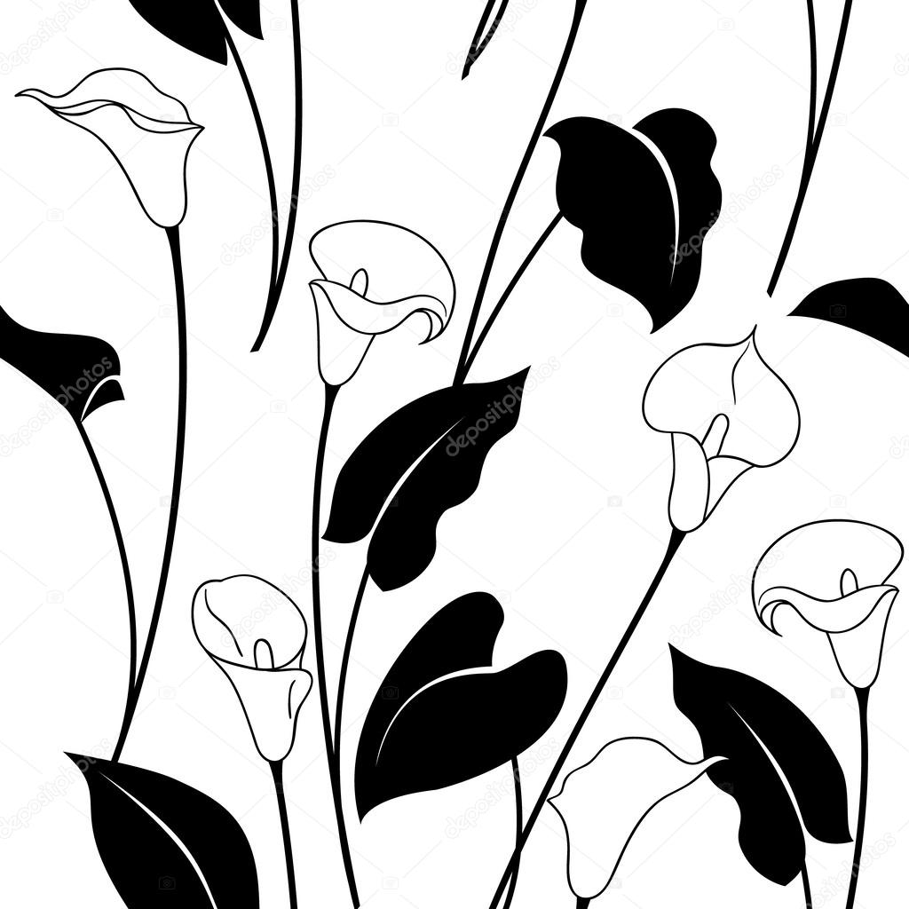 Black and white calla lily pattern