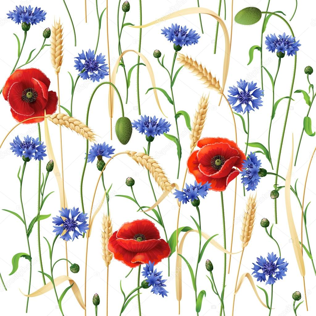 Cornflowers, Poppies and Wheat Ears Pattern