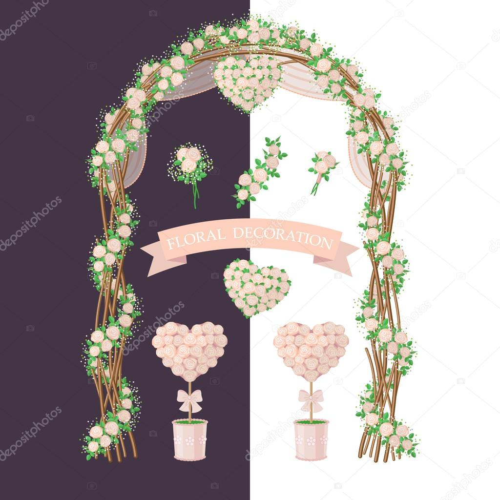 Simplified Image Of Arch Topiary Flower Heart And Bouquet Set Of Floral Elements Isolated On White And Dark Background Floral Decoration In Rustic Style For Wedding Design Premium Vector In Adobe
