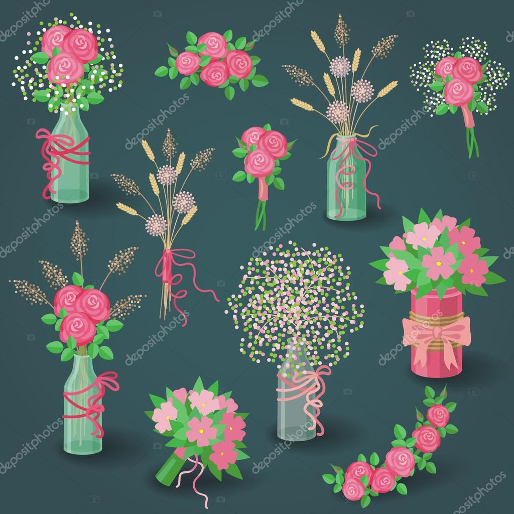Set of Pink Flowers, Bouquets and Floral Elements