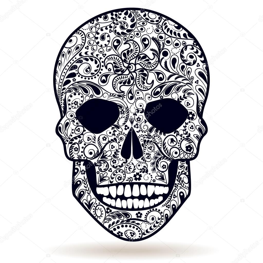 Blanco Y Negro Con Estampado De Calavera Vector De Stock Valiva