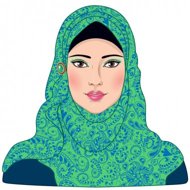 Muslim girl dressed in blue-green hijab.