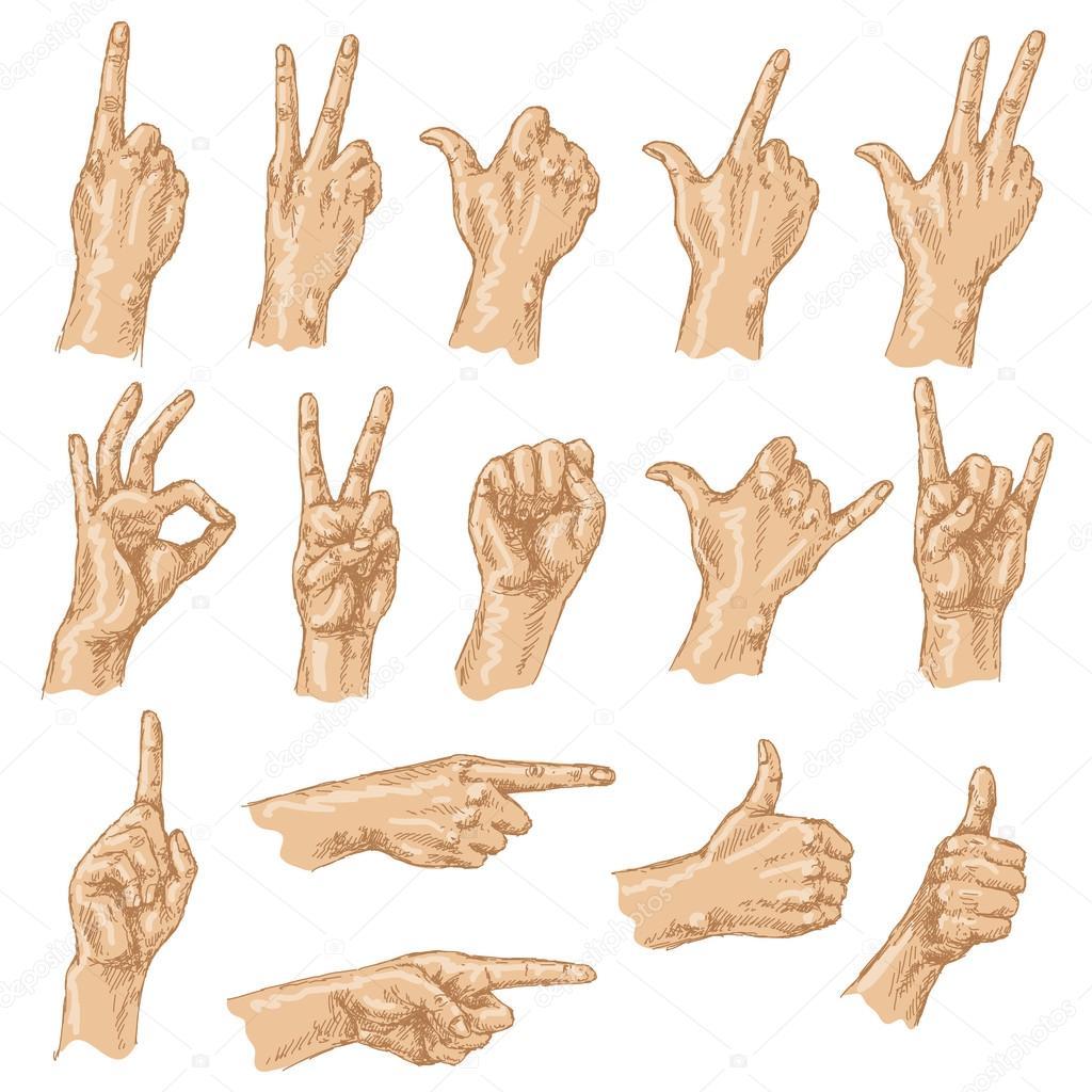 Dibujo coloreado de gestos con las manos — Vector de stock © Valiva ...