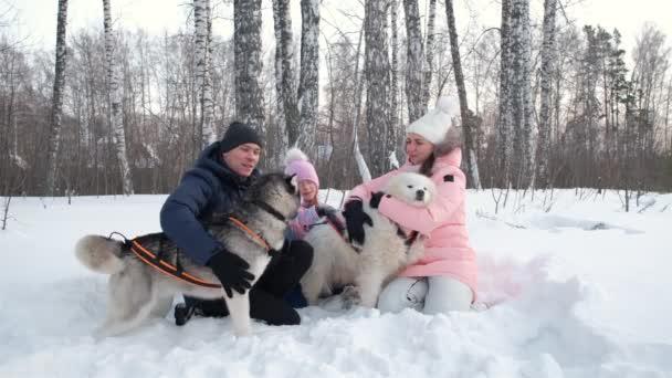 Rodinné mazlení a objímání psů na sněhu