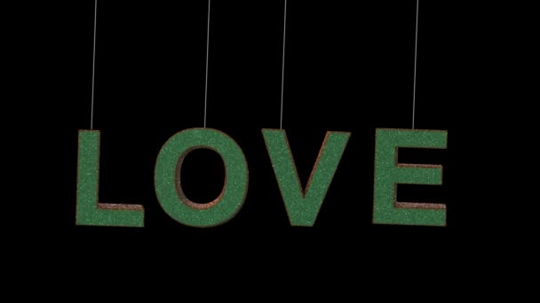 Dynamic Glitter ornament text in 2 colors with separate alpha forming the word love