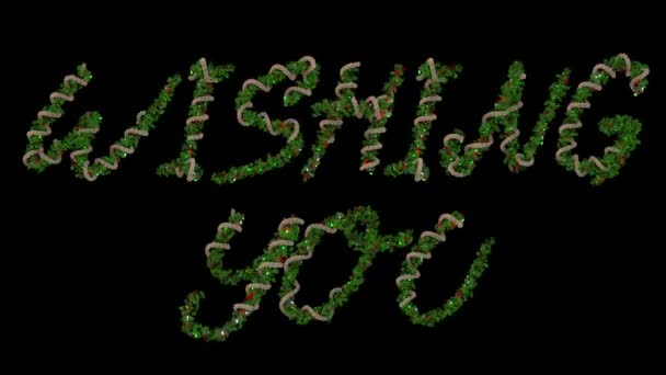 Animované vánoční věnec písmena tvořící slovo vám přeje