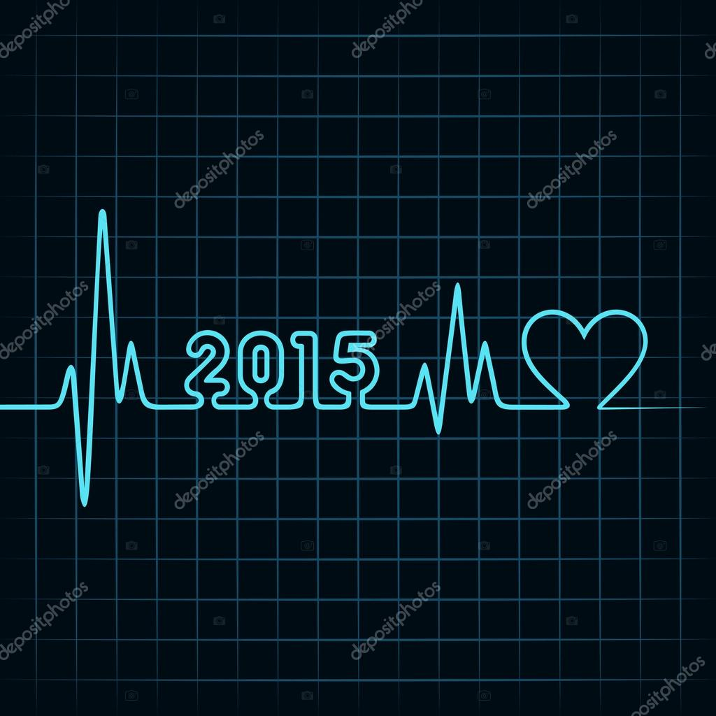heartbeat make happy new year stock vector