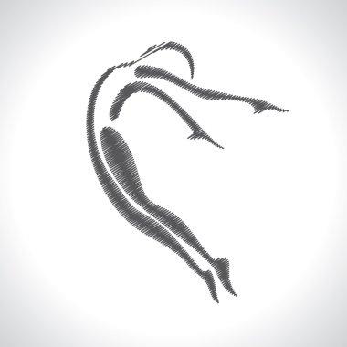 Sketched yoga pose