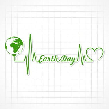 Happy earth day card with heart cardiogram and globe. vector illustration stock vector
