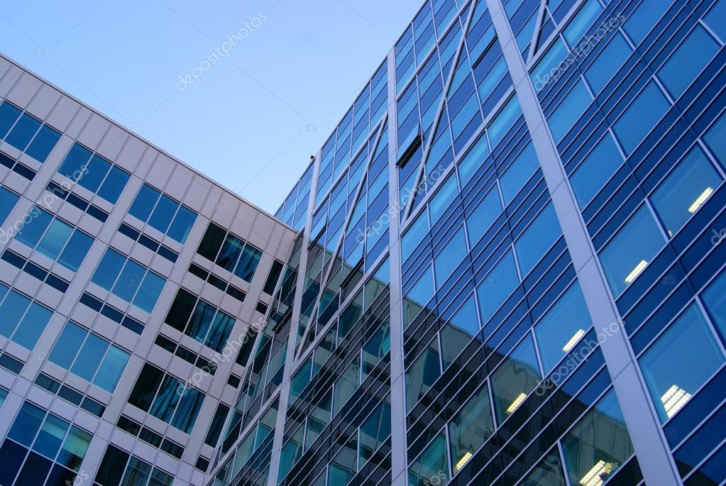Beautiful modern building of glass and concrete, bank