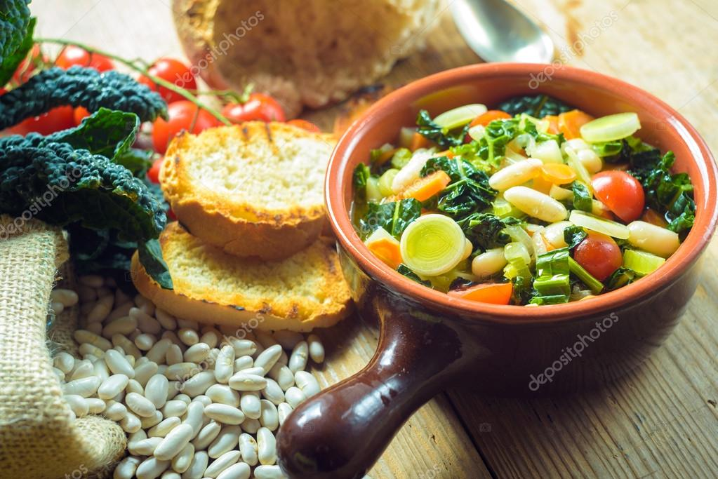 Ribollita, Tuscan soup classic, old-fashioned meal peasants.