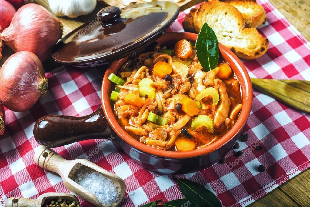 Tripe Florentine, typical Italian, Polish, French food. On a rus