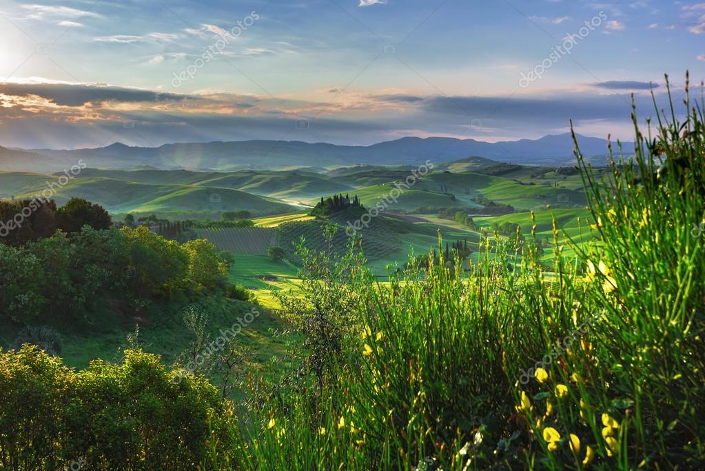 Tuscan hills and spring landscape.