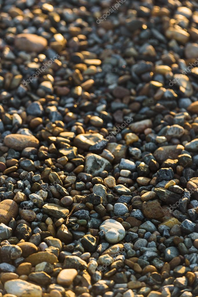 Beautiful pebbles illuminated by sun rising.