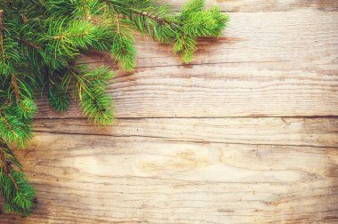 Christmas background on a wooden rustic old table