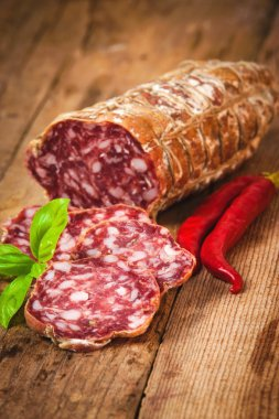 Sausage salami in a rural setting