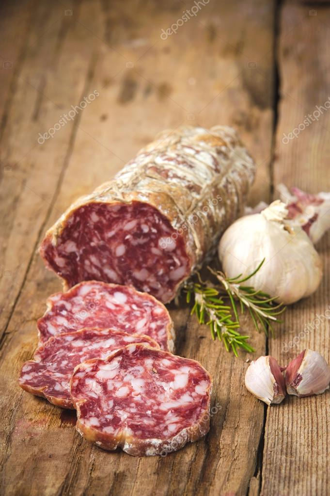 Sausage salami in a rural setting