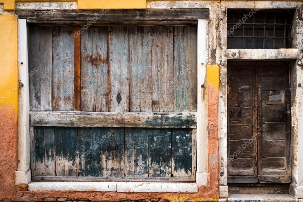 Vieille Porte Vintage, Fenêtre Et Mur à Venise, Italie U2014 Photo