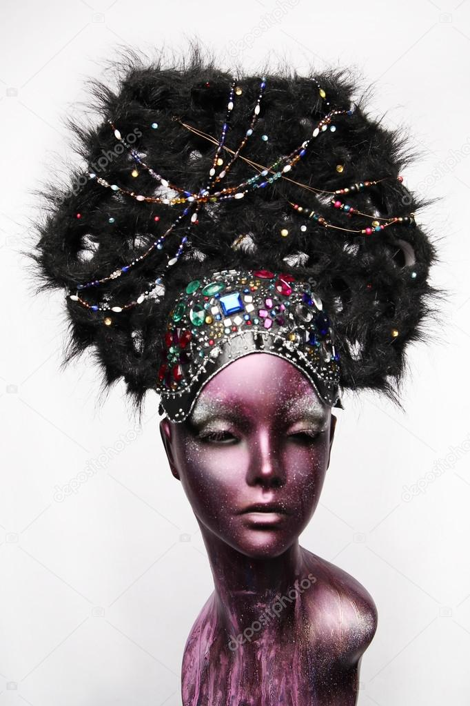 Painted mannequin girl with ethnic headwear — Stock Photo © FREE0NE ... 6896f45d52a
