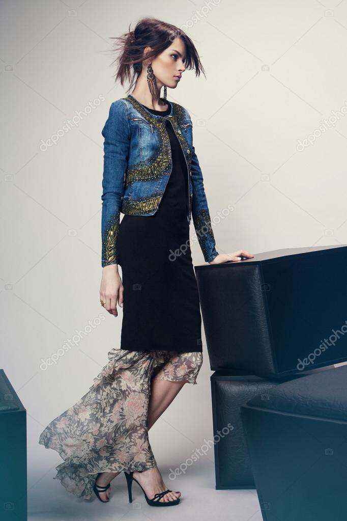 Vestiti Eleganti Con Jeans.Woman In Denim Jacket And Long Dress Stock Photo C Free0ne 70226855