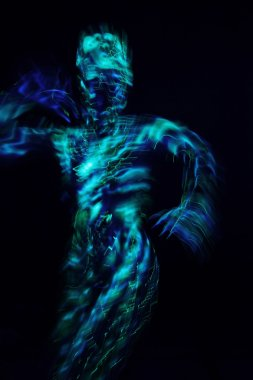 Woman in ultraviolet costume