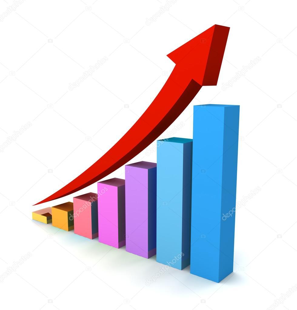 上昇のビジネス グラフの概念 3 ...