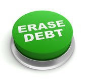 erase debt button concept  3d illustration