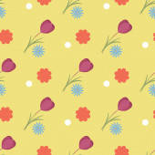Spring seamless pattern of tulip, chamomile and red on a yellow background