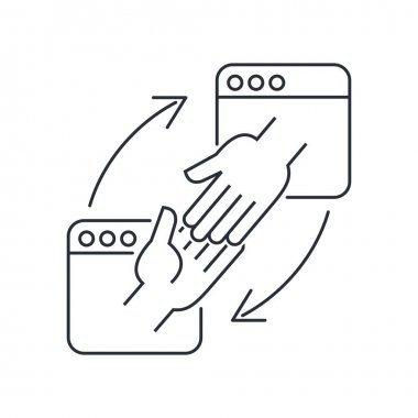 Contact of two hands from Internet pages. Friendship and cooperation in the Internet space. Affiliate programs. Vector linear icon isolated on white background. icon