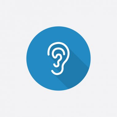 ear Flat Blue Simple Icon with long shado