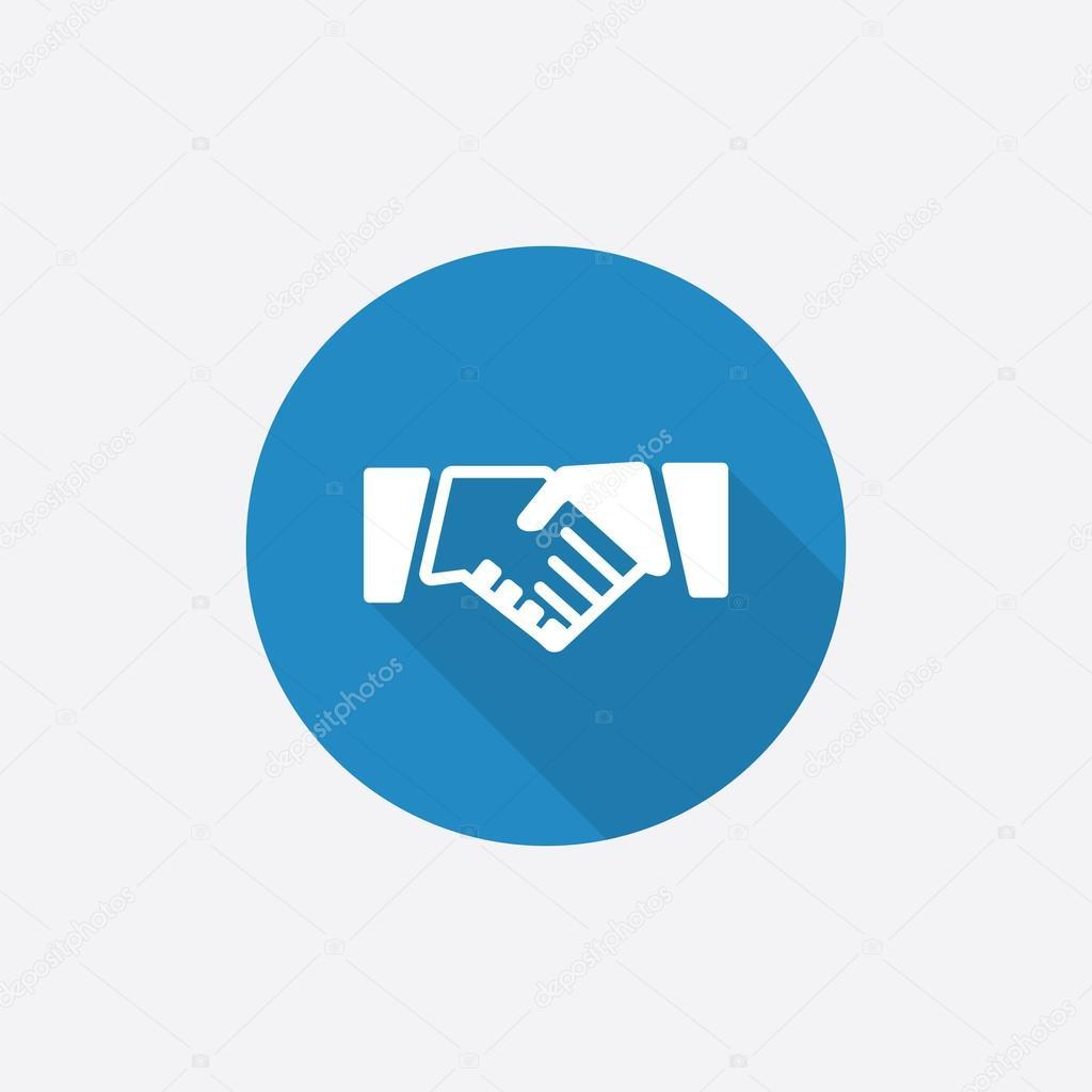 Handshake Flat Blue Simple Icon with long shado